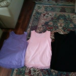 Coldwater Creek 3 lace trimmed tanks size Med.